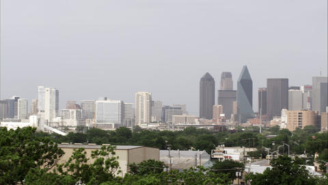 Panning left shot of downtown Dallas skyline Footage