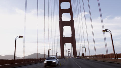 Point of view shot driving on the Golden Gate Bridge Footage