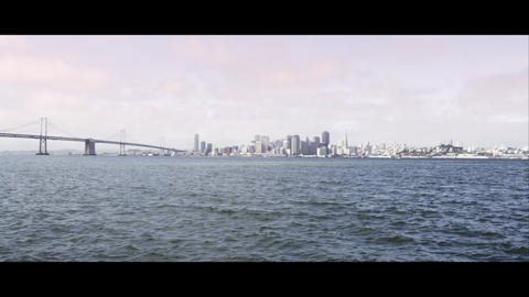 Panning shot from the Golden Gate Bridge to San Francisco Footage