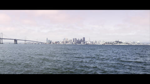 San Francisco and the Golden Gate Bridge as seen from across the bay Footage