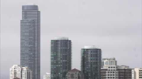 Medium tight shot of several skyscrapers in San Francisco Footage