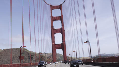 Point of view shot driving the Golden Gate Bridge on a bright day Footage