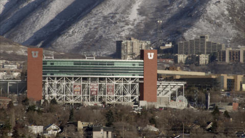 Panning shot of Rice Eccles Stadium at the University of Utah Live Action