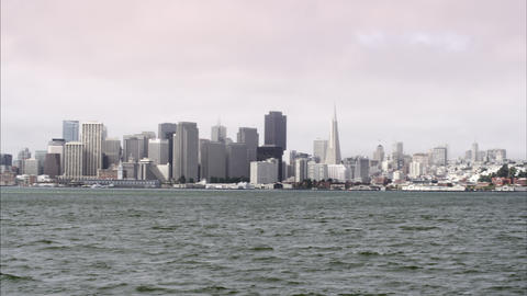 Shot panning from the Oakland Bay Bridge to San Francisco Footage