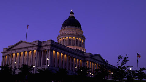 Static shot of the Utah State Capitol building at dusk Live Action