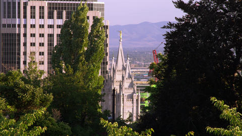 Static shot of the LDS Salt Lake City temple through some trees Footage