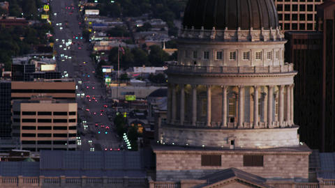 Static tight shot of the Utah State Capitol building and traffic in the backgrou Footage