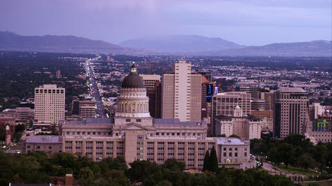Panning shot of the Salt Lake Valley with downtown Salt Lake City in the foregro Footage