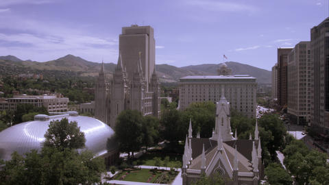 High shot of Temple Square, Salt Lake City, Utah Footage