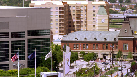 Panning shot of downtown Salt Lake City, including the Union Station building an Footage