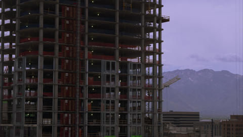 Panning shot of highrise buildingings in Salt Lake City one of which is under co Footage