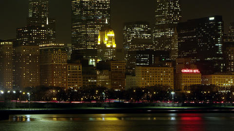 Tight shot night timelapse of Chicago from across the water Footage