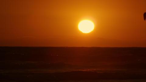 Sun Setting On California Beach Footage