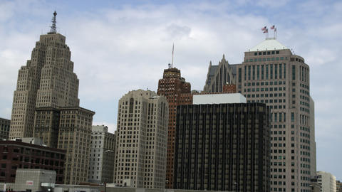 Panning left shot of the Detroit skyline Footage