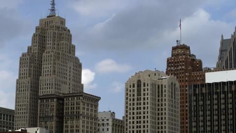 Static shot of skyscraper skyline of Detroit Footage