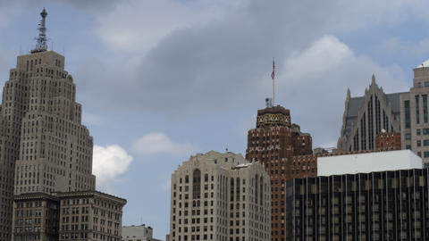 Panning shot of skyscraper skyline of Detroit Footage