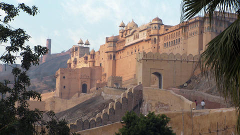 Amber Fort gates and elephant path Footage