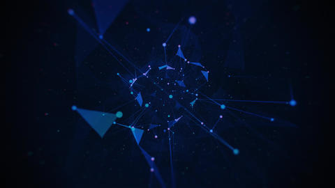 Abstract Rotating Neon Plexus on Dark Blue Background Animation