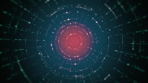 Hi-Tech Rotating Circular Lines on Dark Blue and Red Background Animation
