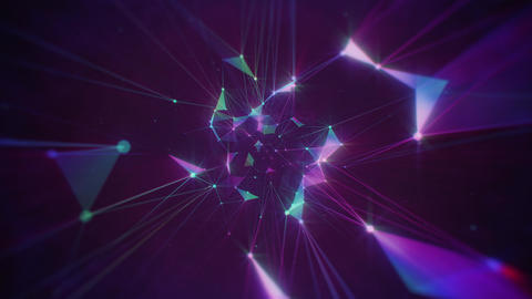 Shiny Retro Plexus on Dark Purple Background Animation