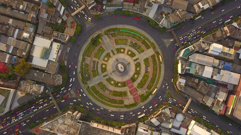 Wongwian Yai roundabout. Aerial view of highway junctions. Roads shape circle in structure of Footage