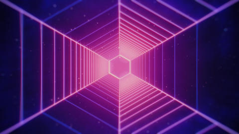 80s Retro Futiristic Pink Hexagonal Tunnel Animation