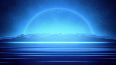 80s Retro Futuristic Blue Lines and Glowing Planet Animation