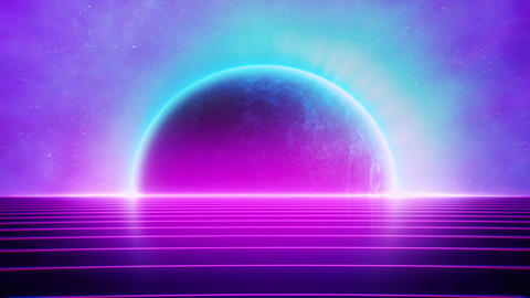 80s Retro Futuristic Pink Grid Road and Glowing Planet Animation