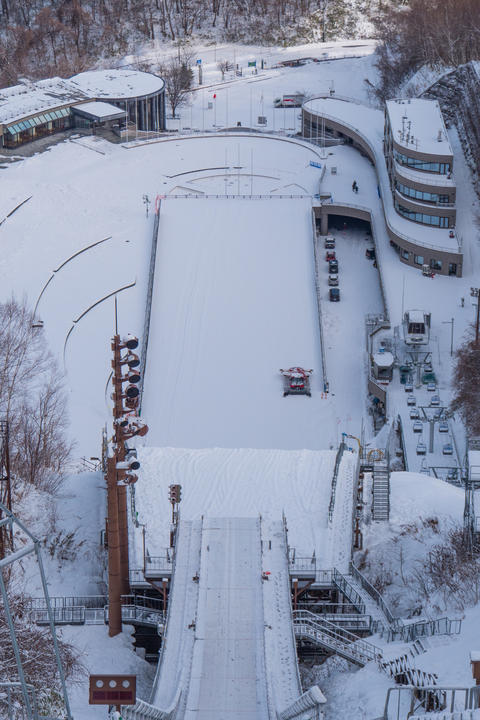 Ski Jump Stadium covered with snow in winter season Photo