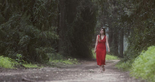 Young beautiful woman with a red dress walking in a green forest Live Action