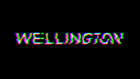 From the Glitch effect arises capital name WELLINGTON. Then the TV turns off. Alpha channel Animation