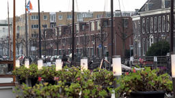 Netherlands South Holland Rotterdam cafe terrace in Delfshaven harbor Footage