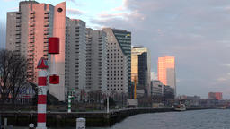 Netherlands South Holland Rotterdam de Boeg monument at Maas riverbank Footage