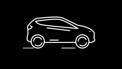 Car line icon on the Alpha Channel Animation