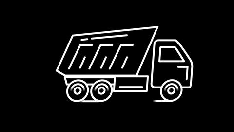 Dump truck line icon on the Alpha Channel Animation