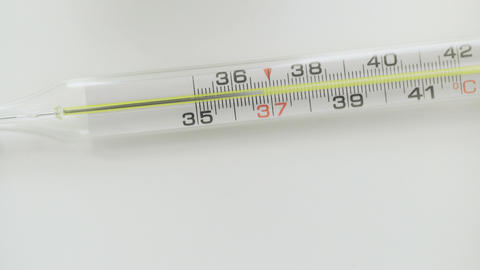 Glass mercurial thermometer takes temperature on white background Live Action