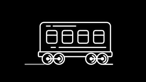 Railway carriage line icon on the Alpha Channel Animation