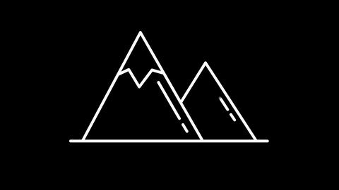 Mountains line icon on the Alpha Channel Animation