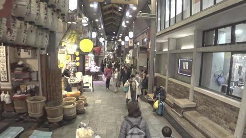 (3 times speed) Walking through Nishiki market or Nishiki ichiba in Kyoto in the evening Footage