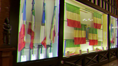 Glitch effect. Museum banners Navy. Vittoriano. Rome, Italy Live Action