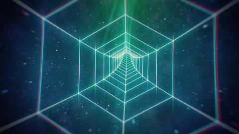 80s Retro Cosmic Hexagon Grid Tunnel Animación