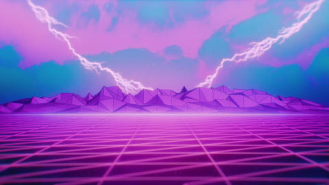 80s Retrowave Pink Grid and Distant Lightnings Animation