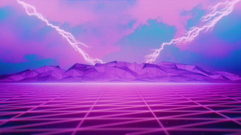 80s Retrowave Pink Grid and Distant Lightnings Stock Video Footage