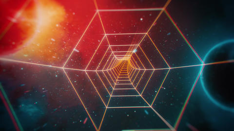 Retro Hexagon Grid Tunnel and Distant Planets in Space Animation