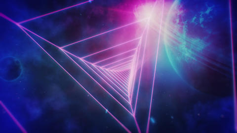 Retro Space Flight Through Pink Triangular Grid Tunnel and Distant Planets Animation