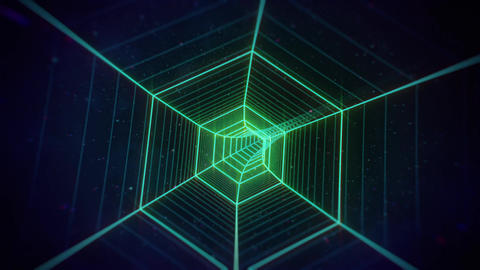 Rotating Green Retro Hexagon Grid Tunnel in Space Animation