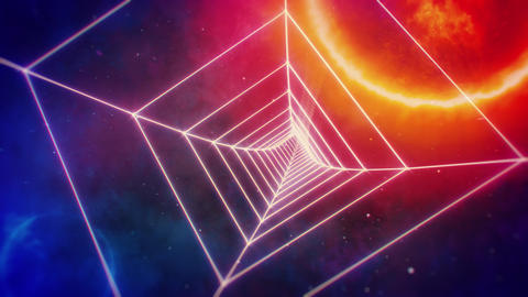 Rotating Retro Square Grid Tunnel and Distant Planets in Space Animation