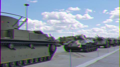 Glitch effect. Older tanks. Part 1. Museum of military equipment, Pyshma, Ekaterinburg, Russia Footage
