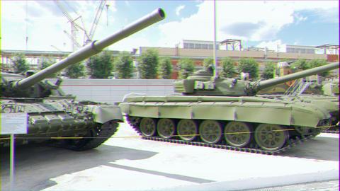 Glitch effect. Airborne combat vehicles and tanks. Pyshma, Ekaterinburg, Russia Footage