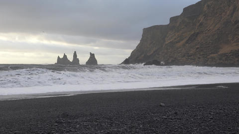 Reynisfjara close to Vik, Iceland, Europe Footage